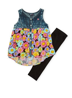 Girls 4-6x Limited Too Floral Denim Yoke Top with Leggings - 1607060990024