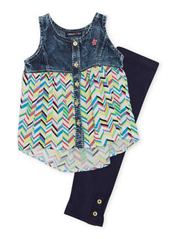 Girls 4-6x Limited Too Chevron Printed Denim Yoke Blouse with Leggings - 1607060990025
