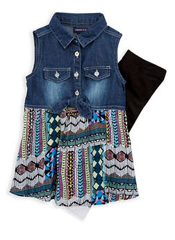 Girls 4-6x Limited Too Printed Denim Top with Leggings - 1607060990029