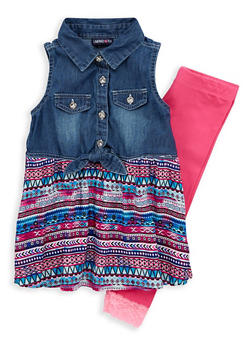 Girls 4-6x Limited Too Printed Denim Top with Leggings - 1607060990030