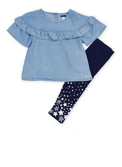 Girls 4-6x Kensie Ruffle Chambray Top with Leggings Set - 1607060990031