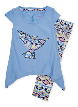 Girls 4-6x Graphic Top with Printed Leggings Set - 1607061950001