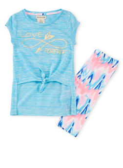 Girls 4-6x Graphic High Low Tee with Printed Leggings - 1607061950004
