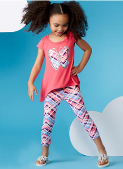 Girls 4-6x Asymmetrical Graphic Foil Butterfly T Shirt and Legging Set - 1607061950019