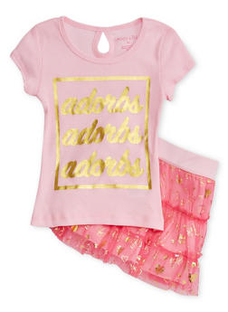 Girls 4-6x Graphic Adorbs Foil T Shirt with Printed Tiered Skirt - 1607061950020