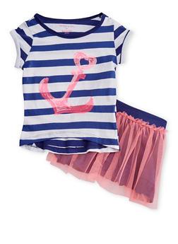 Girls 4-6x Striped Anchor Print T Shirt with Tutu Skirt - 1607061950021