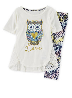 Girls 4-6x Graphic Owl Love Foil T Shirt and Legging Set - 1607061950024