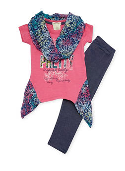 Girls 4-6x Asymmetrical Graphic Top with Denim Knit Leggings and Infinity Scarf - 1607061950027