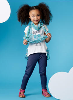 Girls 4-6x Graphic High Low Top and Denim Print Leggings with Infinity Scarf - 1607061950034