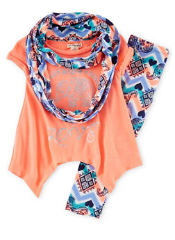 Girls 4-6x Glitter Graphic Tunic Top and Printed Leggings and Scarf Set - 1607061950038