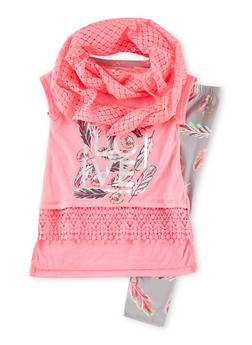 Girls 4-6x Love Graphic High Low T Shirt and Printed Leggings with Infinity Scarf - 1607061950040