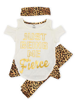 Girls 4-6x Graphic Cold Shoulder Top with Leopard Print Leggings and Headband - 1607061950045