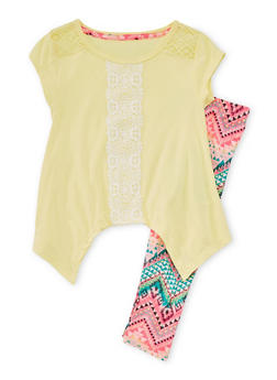 Girls 4-6x Yellow Crocheted Top with Printed Leggings Set - 1607061950048