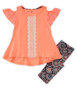 Girls 4-6x Crochet Trimmed Cold Shoulder Top with Printed Leggings - 1607061950051