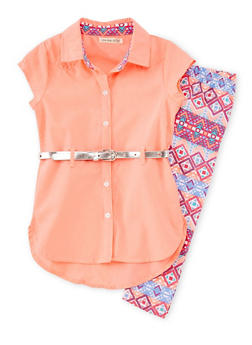 Girls 4-6x Belted Button Front Shirt and Leggings Set - 1607061950052
