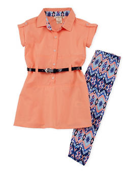 Girls 4-6x Short Sleeve Button Front Belted Tunic with Printed Leggings - 1607061950055