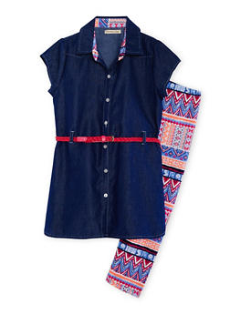 Girls 4-6X Belted Denim Tunic with Aztec Leggings - 1607061950056