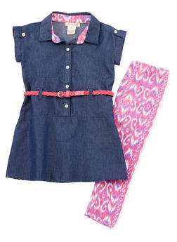 Girls 4-6x Belted Denim Tunic with Printed Leggings - 1607061950058