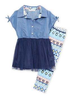Girls 4-6x Denim Cut Out Sleeve Tulle Dress with Printed Leggings - 1607061950060
