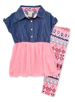 Girls 4-6x Neon Pink Tulle and Denim Dress with Leggings - 1607061950061