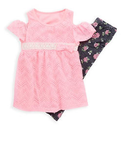 Girls 4-6x Crochet Lace Cold Shoulder Top with Floral Leggings Set - 1607061950062