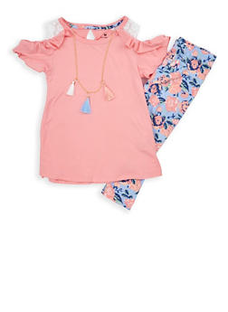 Girls 4-6x Soft Knit Top with Leggings and Necklace - 1607061950065