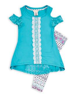 Girls 4-6x Soft Knit Crochet Trim Top with Printed Leggings - 1607061950066