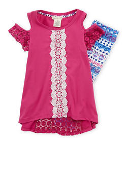 Girls 4-6x Soft Knit Crochet Trim Top with Printed Leggings - 1607061950066