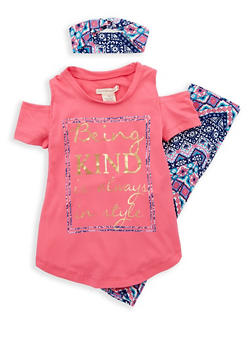 Girls 4-6x Soft Knit Graphic Top with Printed Leggings and Headband - 1607061950070