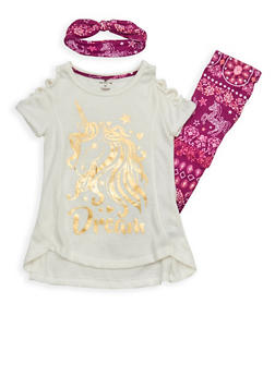 Girls 4-6x Unicorn Graphic Top with Soft Knit Leggings and Headband - 1607061950072