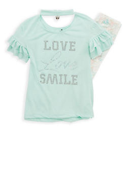 Girls 4-6x Heart Charm Studded Top with Leggings - 1607061950080
