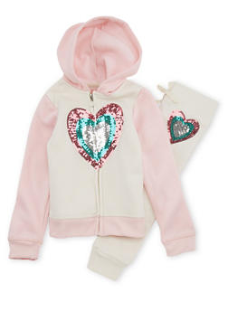 Girls 4-6x Sequin Heart Sweatshirt and Sweatpants - 1607061950084