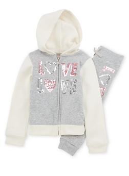 Girls 4-6x Color Block Love Graphic Sweatshirt and Sweatpants - 1607061950088