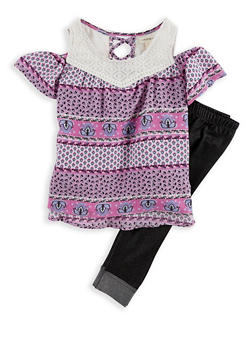 Girls 4-6x Crepe Knit Top with Denim Knit Leggings - 1607061950098