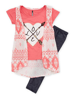 Girls 4-6x Leggings and Top with Love Print and Vest - 1607061959736