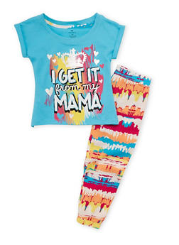 Girls 4-6x I Get It from My Mama Graphic Top with Printed Leggings - 1607061959746