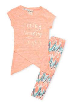 Girls 4-6x Feeling Amazing Everyday Graphic Top with Printed Leggings - 1607061959747