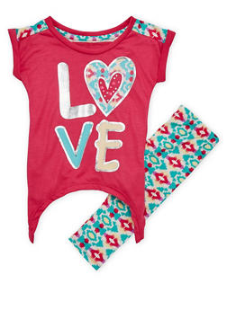 Girls 4-6x Love Graphic Foil Top with Printed Leggings - 1607061959749