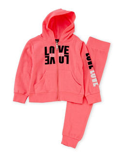 Girls 4-6x Hoodie and Joggers Set with Love Graphic - 1607063400001
