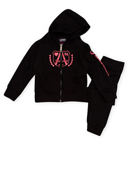 Girls 4-6x Hoodie and Joggers Set with Flawless Graphic - 1607063400002