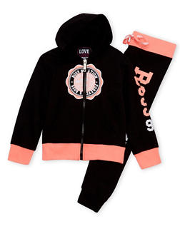Girls 4-12 Graphic Varsity Hoodie with Joggers Set - 1607063400005