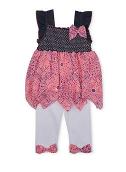 Girls 4-6x Smocked Denim and Chiffon Top and Leggings Set with Bows - 1607070680002