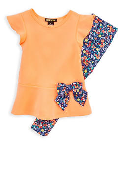 Girls 4-6x Peplum Top and Floral Leggings - 1607073960001