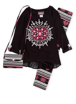 Girls 7-14 Graphic Sweater with Leggings and Bag - 1608021280001