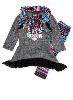 Girls 7-14 Sequined Top and Leggings with Scarf - 1608021280004