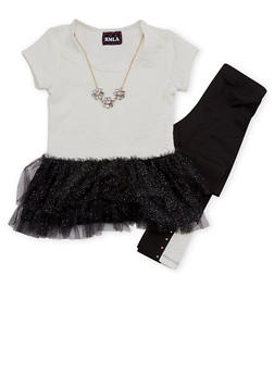 Girls 7-14 Tutu Top and Leggings with Necklace Set - 1608021280005
