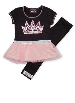 Girls 7-14 Sequined Top and Leggings Set - 1608021280007