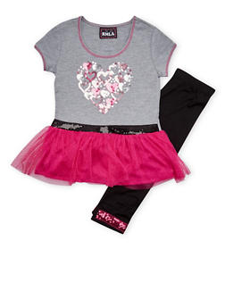 Girls 7-14 Sequined Tutu Top and Leggings Set - 1608021280008