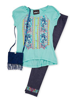 Girls 7-16 Embroidered Top and Leggings Set with Fringe Purse - 1608021280013