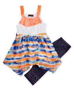 Girls 5-14 Tie Dye Lace Trim Tunic Tank Top with Leggings Set - 1608021280016